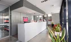 Eco Refurb refurbished reception desk for Run Property Kings Cross