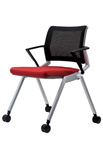 City visitor mesh chair with arms and castors